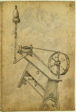 Spinning Wheel, The Housebook, 1475-1485. This is the earliest illustration of a spinning wheel equipped with a flyer. The U-shaped flyer is attached to the spindle, which is in turn joined to the wheel by a belt. It twisted the loose fibers from the distaff into thread while feeding the thread onto the spindle. This replaced the old way in which the spinner first used the turning spindle to twist a length of fiber then stopped to wind the thread onto the spindle.