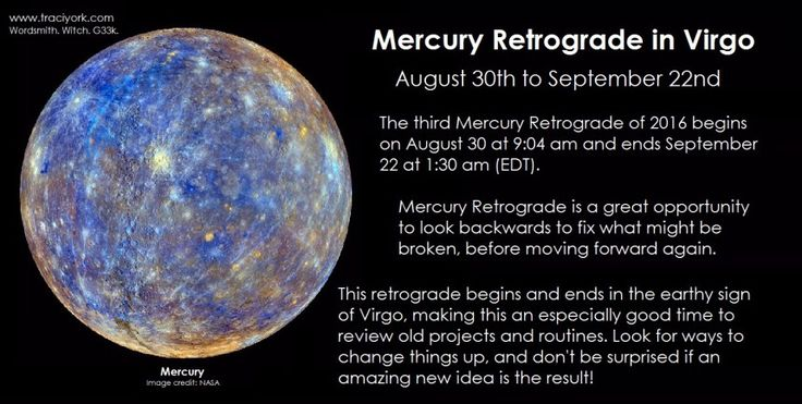 Mercury Retrograde in Virgo August 2016. The 3rd Mercury Retrograde of 2016 begins August 30 at 9:04 am and ends September 22 at 1:30 am (EDT). Mercury Retrograde is a great opportunity to look backwards to fix what might be broken, before moving forward again. This retrograde begins and ends in the earthy sign of Virgo, making this an especially good time to review old projects and routines. Look for ways to change things up, and don't be surprised if an amazing new idea is the result!