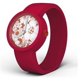 O clock Watch - Red Flowers face with Ruby Red strap