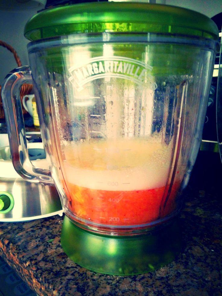 Strawberry Peach Frozen Margaritas using Margaritaville frozen concoction drink maker. No mixes, no added sugar!