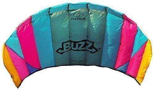 Flexifoil 1.45M Power Kite With 90 Day Money Back Guarantee! - Buzz Sport Foil By World Record Winning Designer Of 2-Line And 4-Line Power Kites - Safe, Reliable And Durable Family Orientated Power Kiting, Kite Training And Introductory Traction Kiting, 2015 Amazon Top Rated Kites #Toy