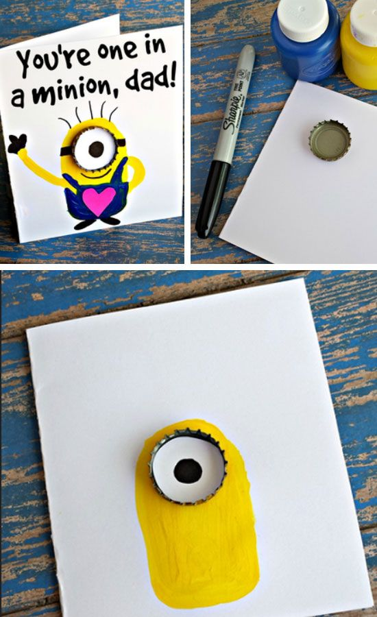 You're One in a Minion   Easy Fathers Day Cards for Kids to Make