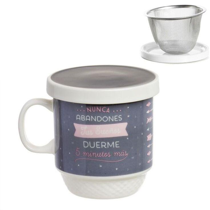 Tisana Nunca abandones tus sueños, duerme 5 minutos más. Una tisana perfecta para prepararte tus tés más sabrosos. En Decocuit podrás disfrutar de un té con una taza de té con filtro apta para microondas y lavavajillas. Estamos en C/ San Pablo 22, Burgos, o en nuestra tienda on line www.decocuit.com.