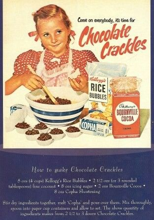 vintage Chocolate Crackles promotional advertisement with recipe here • CWA Australia recipes