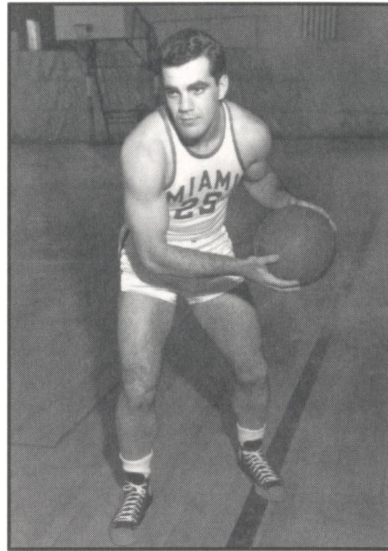 Ara Parseghian in his basketball uniform. He played football, basketball and baseball while at Miami University from 1947-1948. #Miami #Basketball #Parseghian #ThreeSportAthlete #Oxford #HistoryHarvest