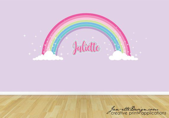 Pink Sparkle Rainbow Fabric Wall Sticker Girls Pink Rainbow Name