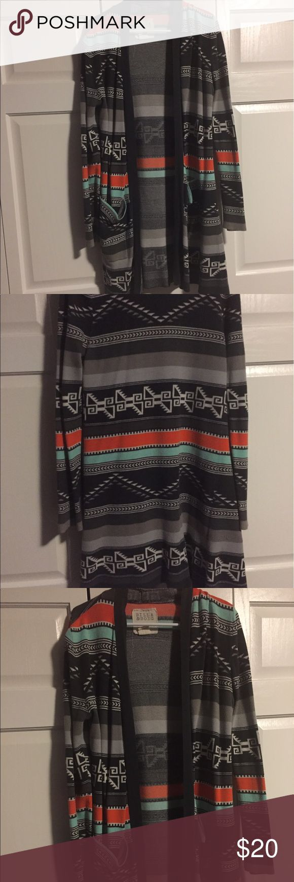 Long Tribal Print Cardigan Long tribal print Cardigan. Fairly thick material, perfect for cooler nights in the fall. Billabong Sweaters Cardigans