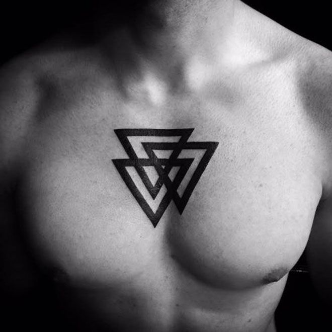 Chest tattoo triangle men 39 s tattoos pinterest for Simple chest tattoos for guys