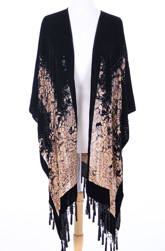 Gypsy Burnout Velvet Kimono Caftan Vintage by AnnNEveleather, $149.00