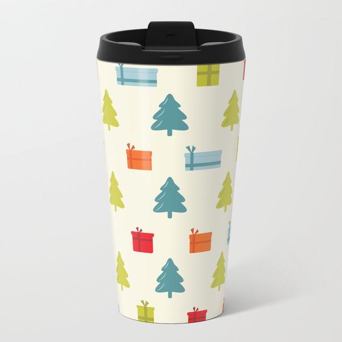 Happy Christmas pattern Metal Travel Mug