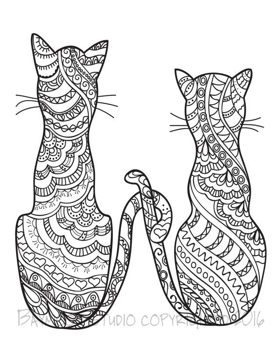 pair of cats coloring page printable coloring pages adult coloring pages digital illustration