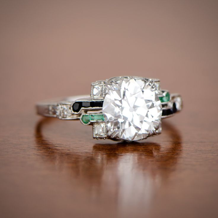A very important and rare Art Deco Engagement Ring. Circa 1925. Sold by Estate Diamond Jewelry.