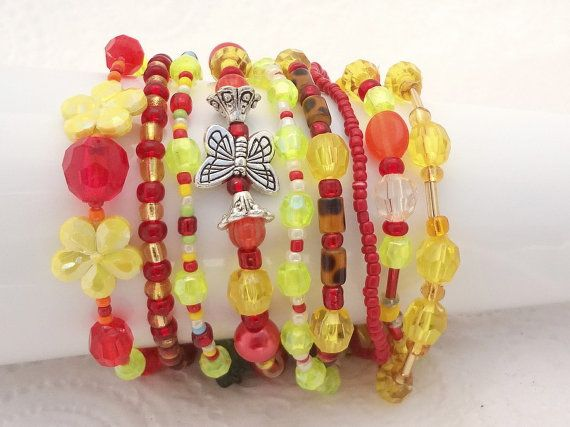 Boho Bracelet Set of 9 - Red & Yellow - beaded stretch bracelets - handmade in New Zealand #13