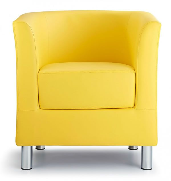 Sagony Designer Modern Tub Chair Yellow Padded Seat Chrome