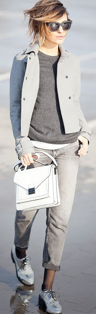 loeffler randall bag | grey jeans | total grey outfit | spring outfit ideas | street style | ellena galant | galant girl | silver oxford shoes