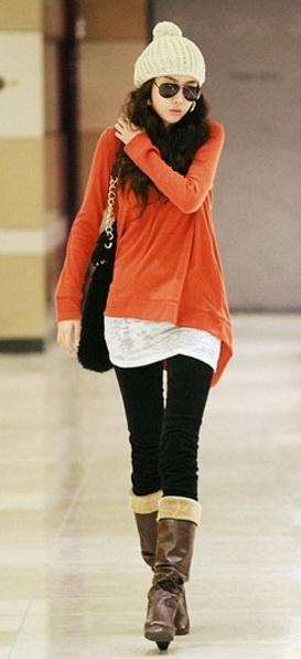 New Arrival Korean Long Sleeve Oversize T Shirt Orange