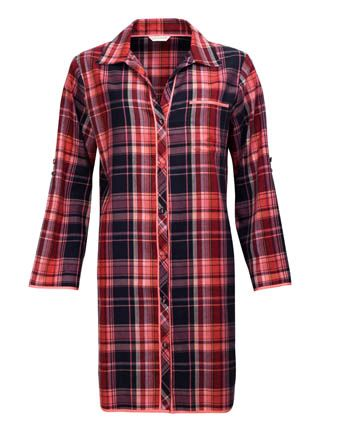 Audrey Woven Long Sleeve Brushed Check Nightshirt