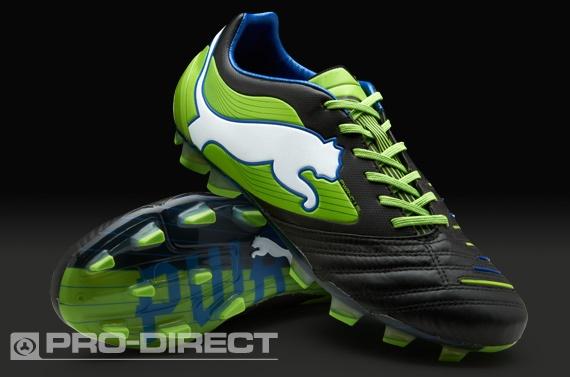 Puma Football Boots - Puma PowerCat 1 SL FG - Firm Ground - Soccer Cleats - Black-Jasmin Green-Monaco Blue