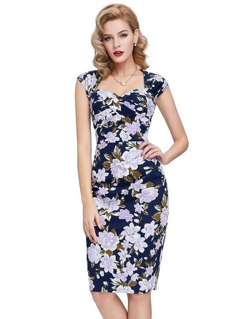 30dda94d8 Womens Sexy Elegant Summer Fashion Floral Flower Vintage Dresses Sleeveless  Slim Casual Party Fitted Women Sheath Bodycon Dress