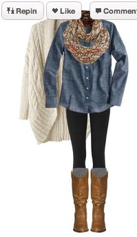 (fall/winter) chambray shirt, black leggings, gray socks, brown boots, scarf, off-white/tan sweater
