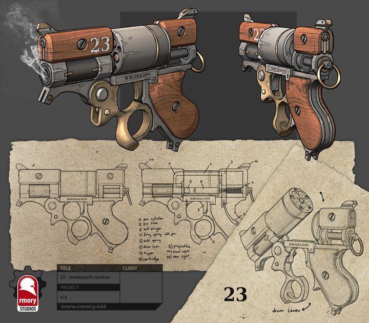 Steampunk Revolver, Kris Thaler on ArtStation at http://www.artstation.com/artwork/steampunk-revolver