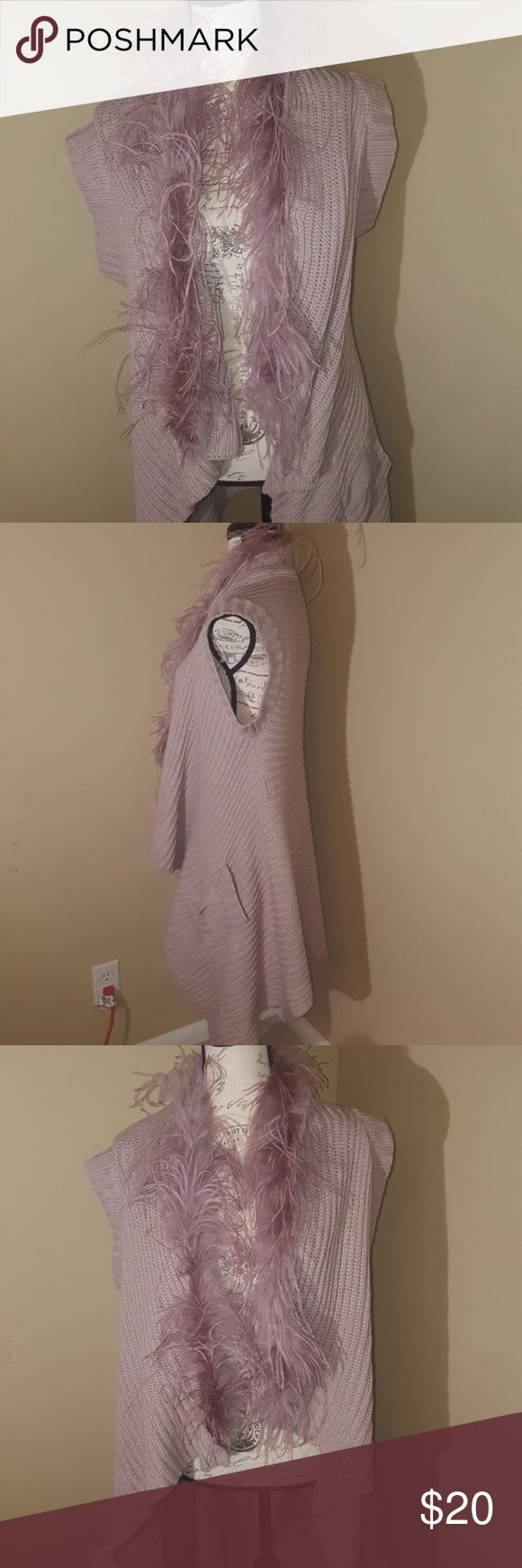 Bisou Bisou sweater with feathered collar EUC. Woman small!! Lilac color. I love it... however, my husband does not. Bisou Bisou Sweaters Shrugs & Ponchos