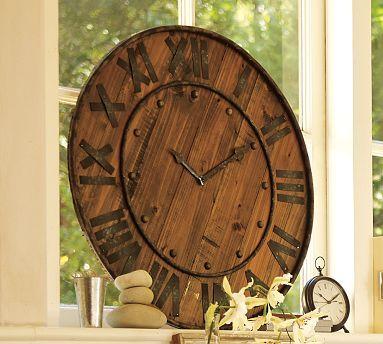wine barrel clock: Iron Clocks, Potterybarn, Wine Barrels, Old Clocks, Rustic Look, Wall Clocks, Rustic Wood, Diy Projects, Pottery Barns
