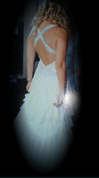 6500 swarovskis were sewn on this wedding dress
