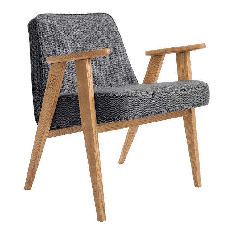 Fauteuil design, tweed noir - 366 Concept