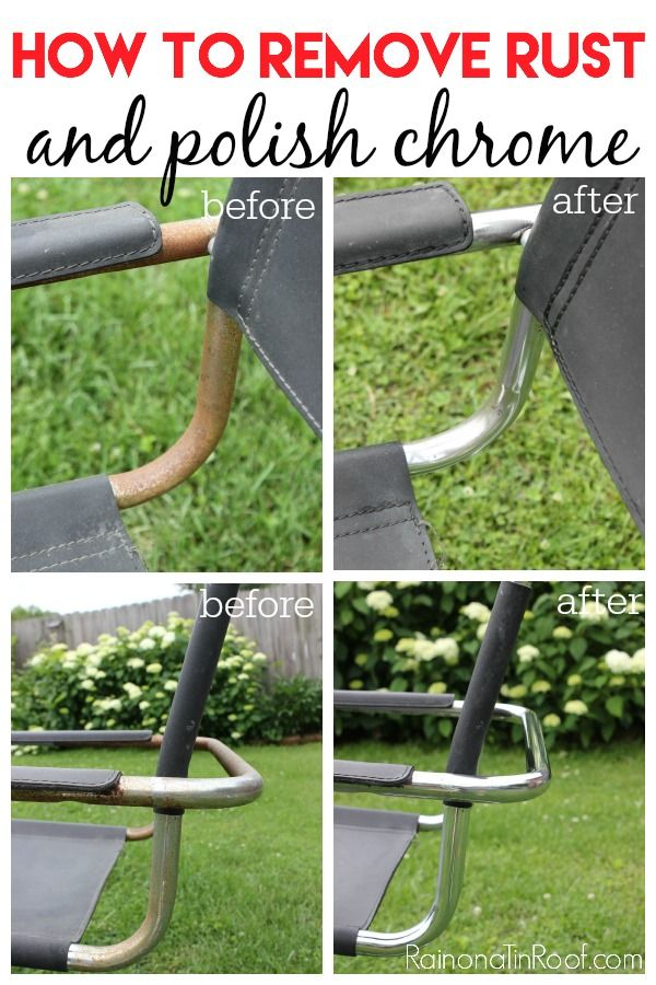 This article provides a step-by-step tutorial for how she took a chair covered in rust and removed all the rust and polished the chrome - awesome cleaning tip!