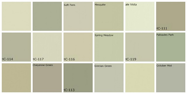 lovely greens, very soothing for a bedroom... Gray Green Paint: Designers' Favorite Colors Top row, left to right: 1. Farrow & Ball Lime White, 2. Farrow & Ball Vert de Terre, 3. Benjamin Moore Soft Fern, 4. Benjamin Moore Mesquite, 5. Benjamin Moore Pale Vista, 6. Benjamin Moore Nantucket Gray. Middle row, left to right: 7. Benjamin Moore Saybrook Sage, 8. Benjamin Moore Hancock Green, 9. Benjamin Moore Guilford Green, 10. Benjamin Moore Spring Meadow, 11. Benjamin Moore Kittery Point ...