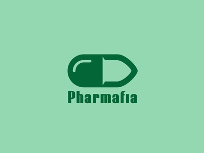 Pharmafia is a #logo that includes a bullet as negative space in a pill icon - designed by Stevan Rodic, Serbia