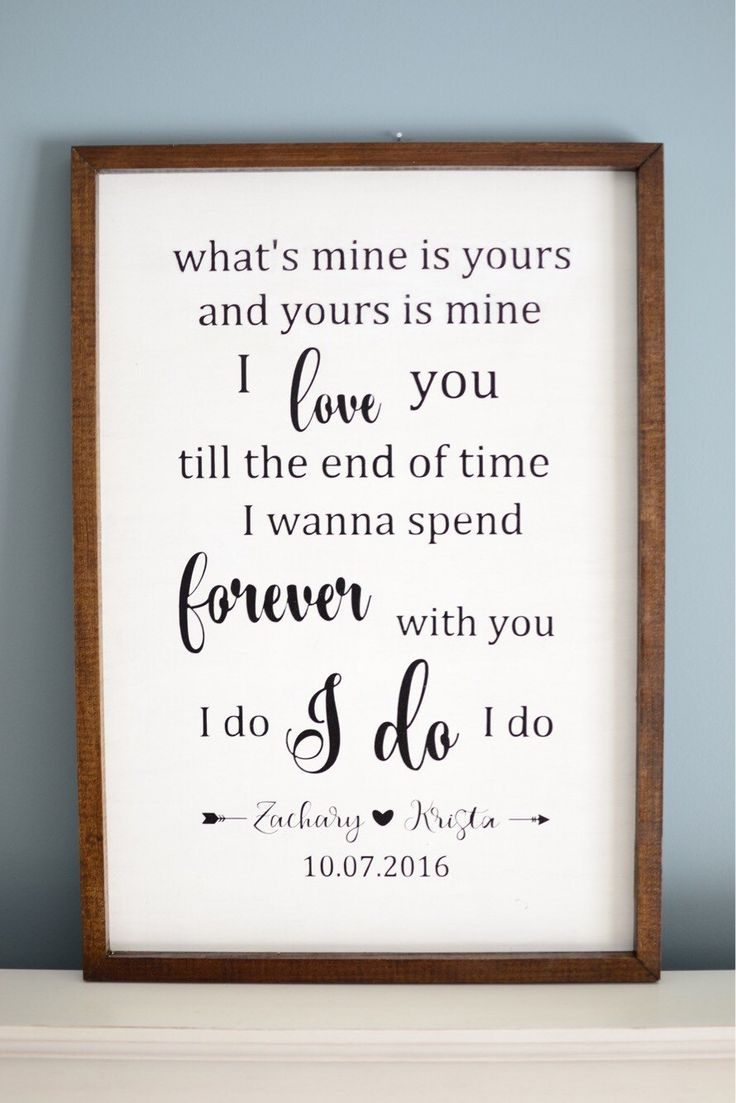 Custom Framed Wood Sign | First Dance Lyrics | Personalized Sign | Custom Quote | Wedding Gift | Anniversary Gift by GypsySoulParlor on Etsy https://www.etsy.com/listing/487779702/custom-framed-wood-sign-first-dance