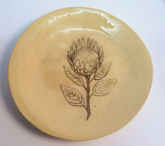 Protea sketch or flower painting ceramic plate