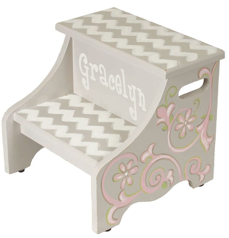 kids step stool, hand painted stool, gray and pink step stool, 2 step graceful chevron step stool, pink flower stool, gray chevron by AveQcollection on Etsy https://www.etsy.com/listing/170035026/kids-step-stool-hand-painted-stool-gray