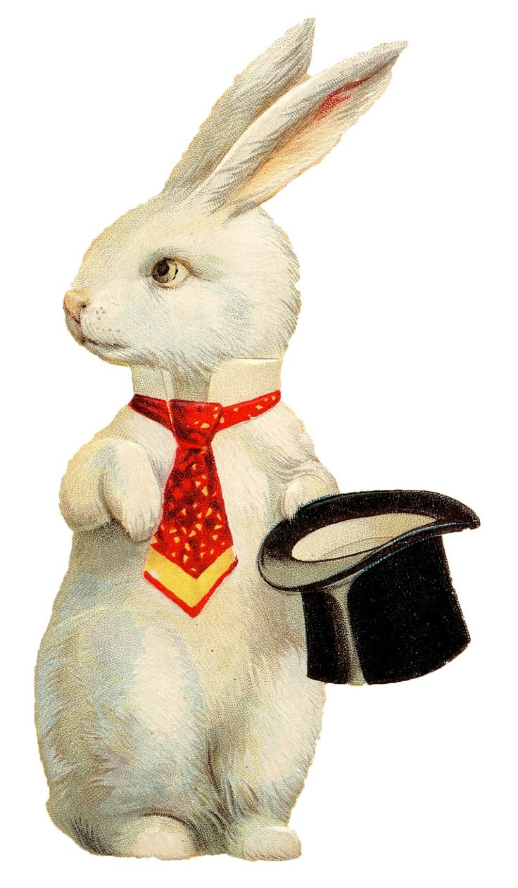 """Vintage Easter Image - Quirky White Rabbit Top Hat.  Free printable ephemera for DIY paper crafts & invites. Decorations for Alice in Wonderland themed birthday tea parties & holidays. Visit """"Graphic's Fairy""""."""