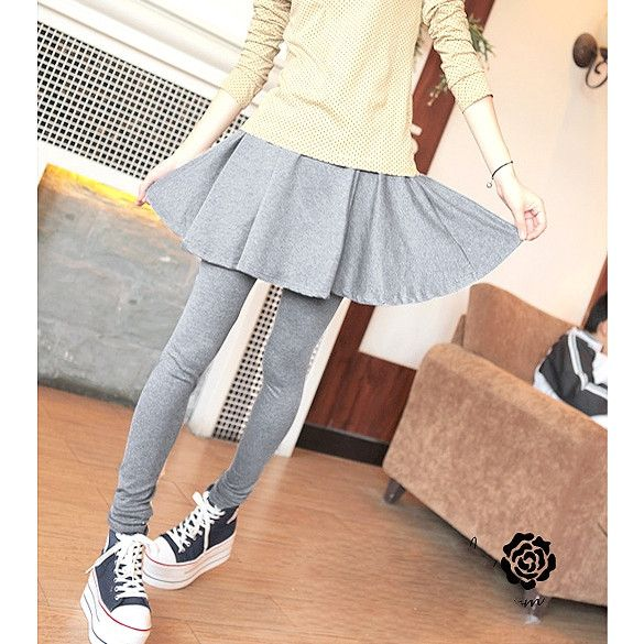 New Fashion Women's New Sweet Lovely Brief Pleated Skirt And Slim Fit Leggings Fake Two Pieces