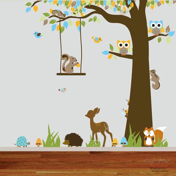 Forêt bois enfants vinyle mur decal pépinière mur par wallartdesign
