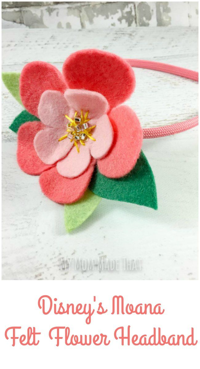 Make a Moana Felt Flower Headband using freezer paper and your Cricut cutting machine. You can create a plumeria headband for your favorite Moana fan with a few pieces of scrap felt and this tutorial.