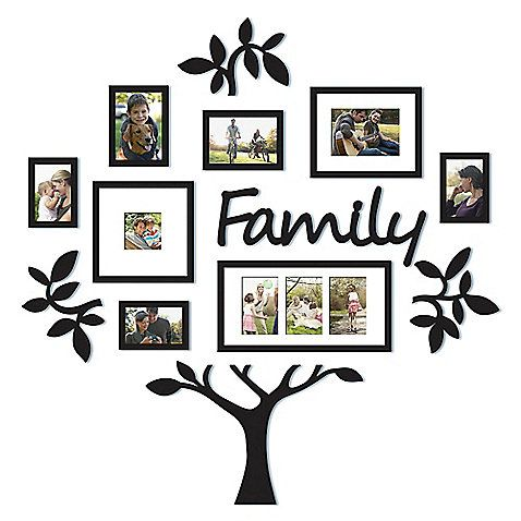 "Bed Bath & Beyond | WallVerbs™ 13-Piece ""Family"" Tree Set in Black :: Design a visual family tree on your wall with the WallVerbs Family Tree Set. This inclusive set holds up to 10 photos and features decorative accents that will let you personalize your home beautifully. $49.99"
