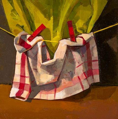 CATHERINE KEHOE STILL LIFE oil on panel She rarely chooses patterned materials for her paintings.