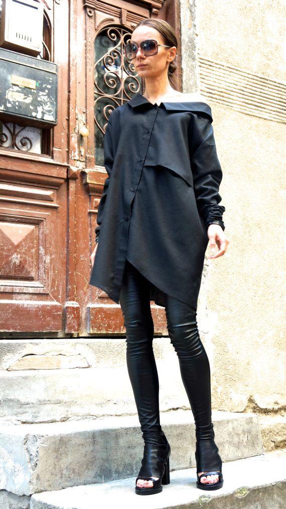 NEW COLLECTION Black Linen Shirt / Extravagant Shirt / by Aakasha, $79.00