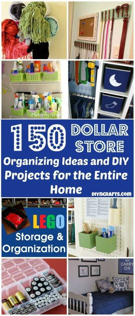 These are some great, inventive ideas for storage. If you're trying to avoid buying cheap, plastic items, adapt these ideas for vintage, found, swapped or already-owned containers! 150 Dollar Store Organizing Ideas and Projects for the Entire Home