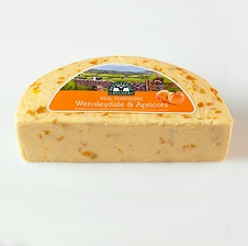 Real Yorkshire Wensleydale & Apricots cheese. The subtle blend of mild and creamy Real Yorkshire Wensleydale cheese with the sweetness of succulent apricots gives a perfectly balanced flavour combination. Perfect with crackers and a versatile culinary ingredient too!