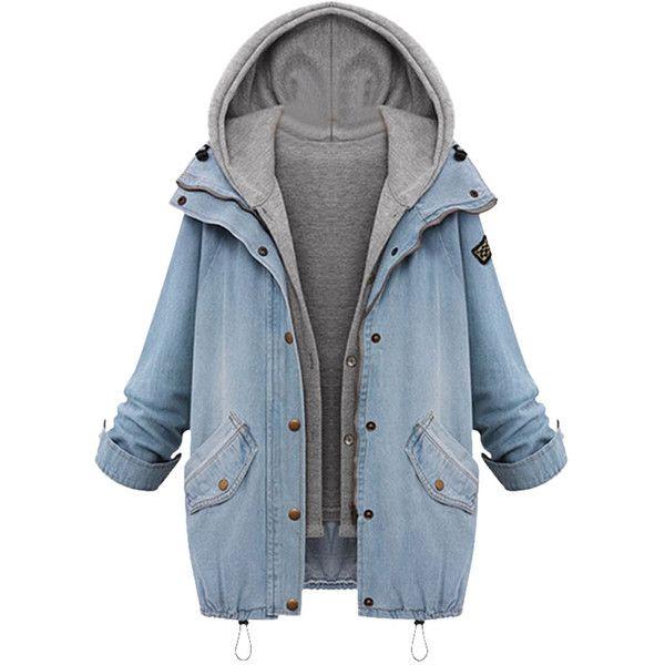 Blue Zipper Denim Coat with Detachable Hooded Waistcoat (195 BRL) ❤ liked on Polyvore featuring outerwear, coats, jackets, short coat, blue coat, long sleeve coat, hooded coat and collar coat