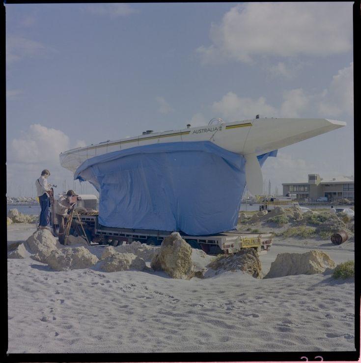 329212PD: A film crew greets the Australia II at Fremantle, 3 June 1982 https://encore.slwa.wa.gov.au/iii/encore/record/C__Rb3159290