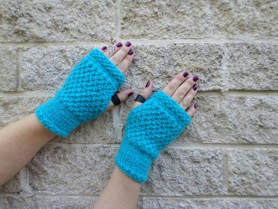 Bright blue knitted fingerless mittens, handmade in New Zealand from pure New Zealand wool,  punk style rock chick