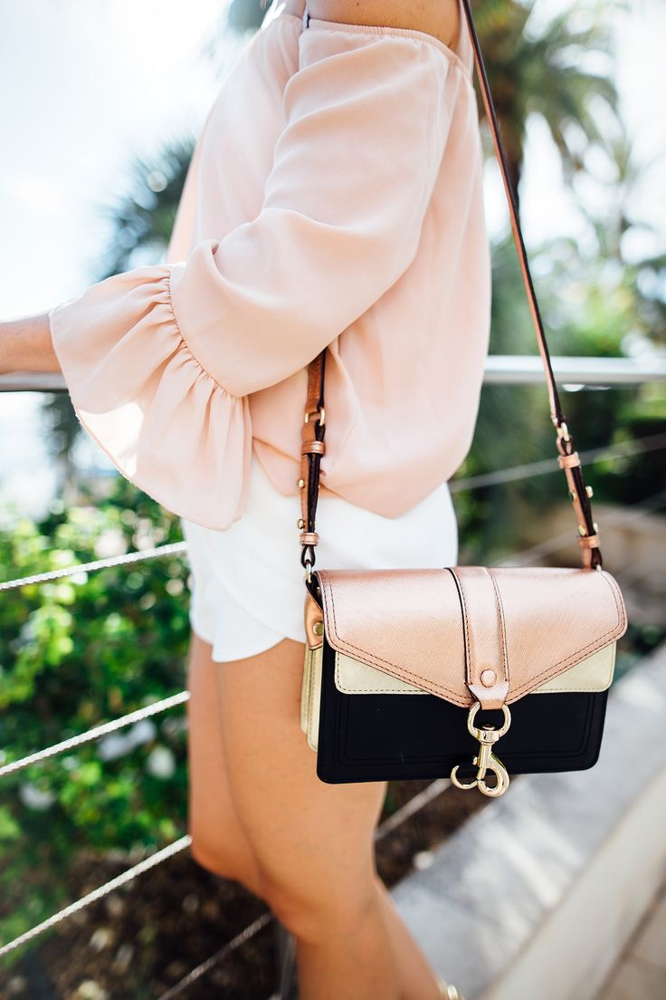 bell sleeve, off shoulder, light pink top, metallic, cross body bag, rebecca minkoff, monaco