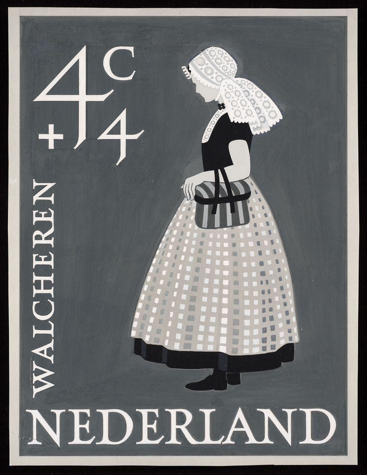 Volledig ontwerp voor Zomerpostzegel 1958, Klederdracht Walcheren ontwerper: Wetselaar, Pieter [Piet] #Zeeland #Walcheren