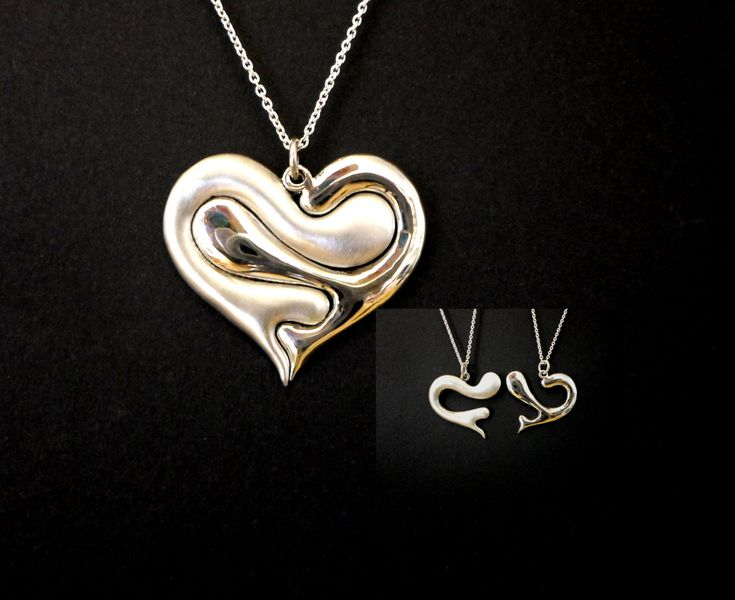 BLACKFRIDAY heart jewelry, heart necklace, puzzle jewelry, love jewelry, friendship, family love, two in one heart pendants, sterling silver - $58.65 USD